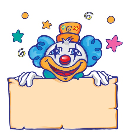 clown with banner Vector