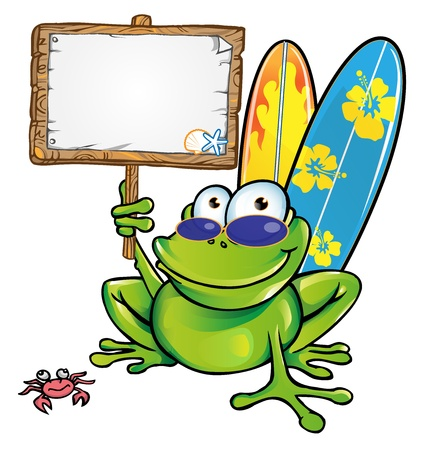 happy summer frog with signboard Vector