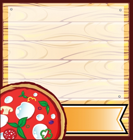 pizza with wood background Illustration