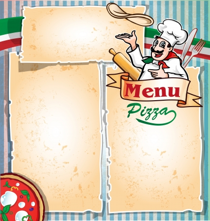 pizza menu with chef  Illustration