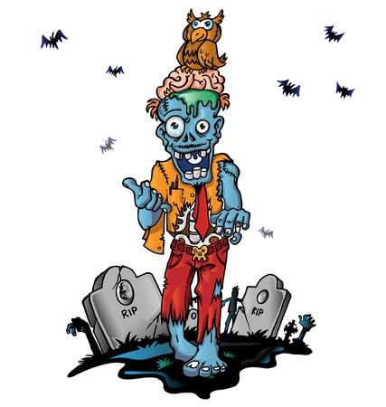 crazy zombie cartoon