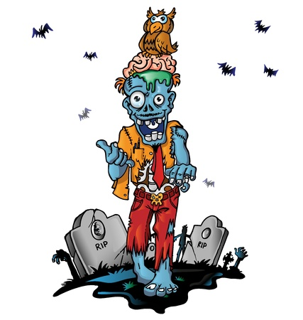 crazy zombie cartoon Vector