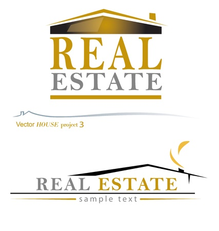 real estate agency: Two variants of the house-real estate design