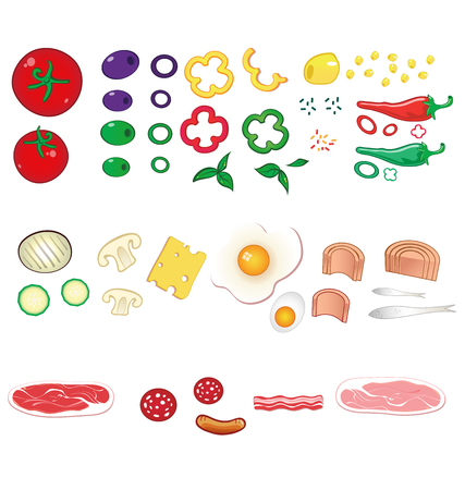 pizza ingredients: food ingredients set
