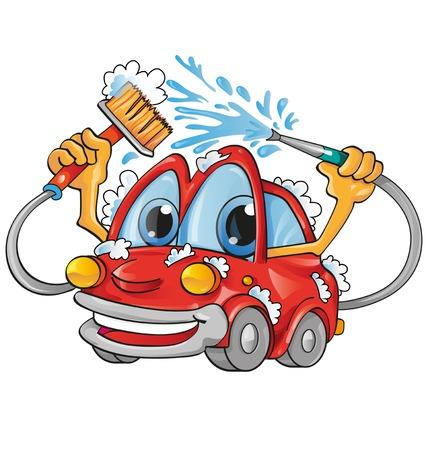 Cartoon Autowäsche