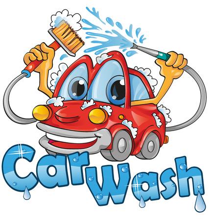 carro caricatura: servicio de lavado de coches Vectores