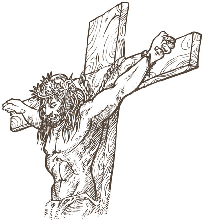 crucified: jesus hand draw
