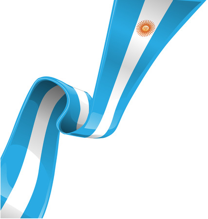 latin american: argentina ribbon flag on white background
