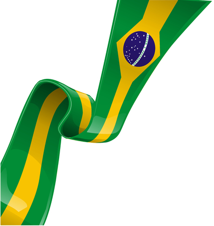 brazil ribbon flag on white background Vector