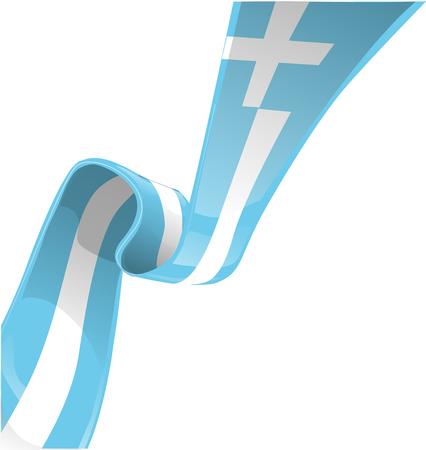 greek flag: greek ribbon flag isolate on white
