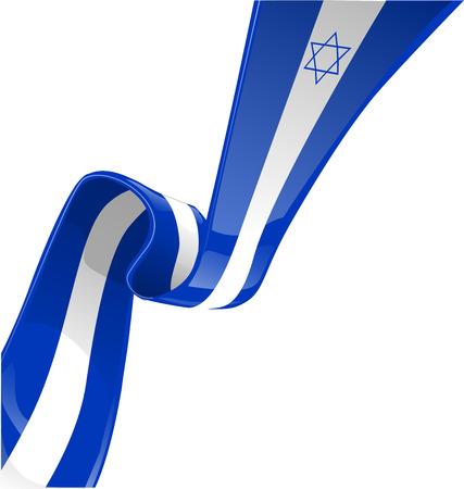이스라엘 리본 플래그는 흰색에 격리