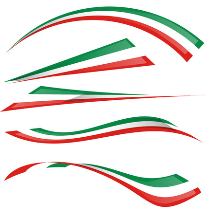 the italian flag: set bandiera italiana Vettoriali