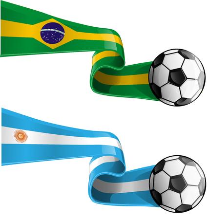 argentinië en brazilië vlag met voetbal Stock Illustratie