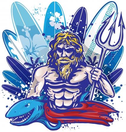 greek gods: poseidon surfer surfboard
