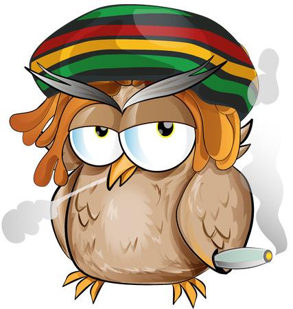 reggae: jamaican owl cartoon on white background