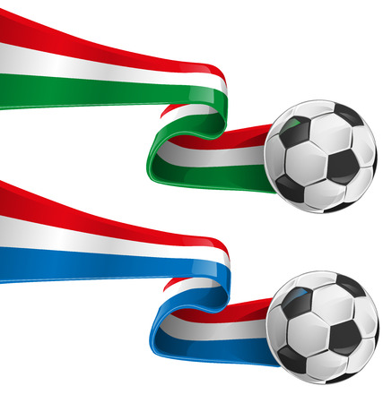 italy and france flag with soccer ball Vector