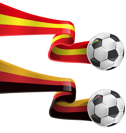 heading the ball: spain and germany flag with soccer ball Illustration