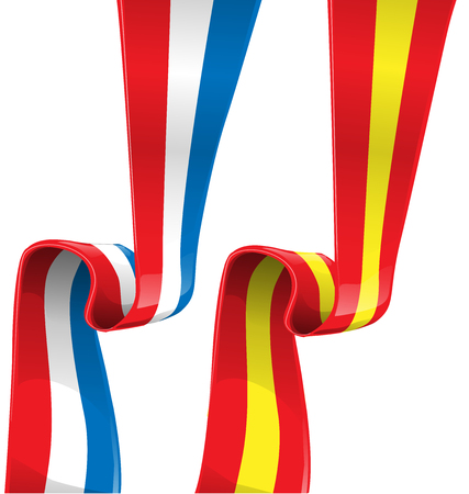 made in spain: france and spain ribbon flag on white background