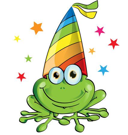 white party: crazy frog partij cartoon op wit