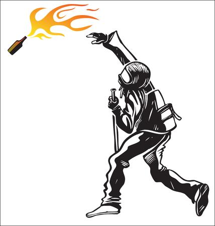 molotov: black block isolated on white