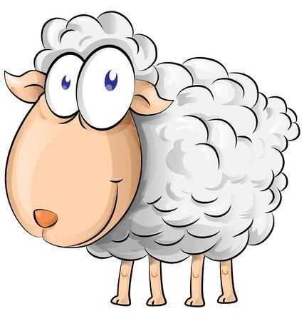 carita feliz caricatura: historieta de las ovejas de aislar en el fondo blanco Vectores