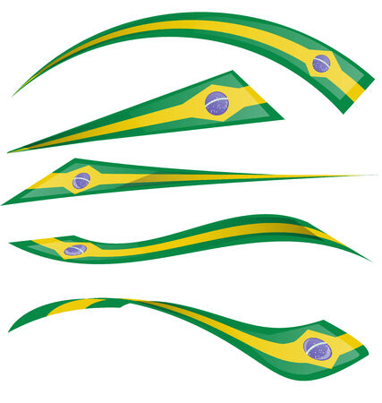 brazil flag set isolated on white  Vector