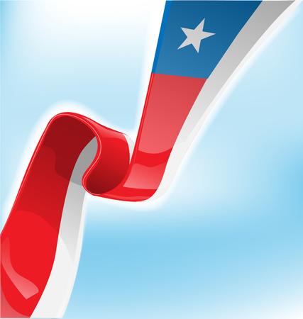 bandera chilena: Bandera de cinta chilena en el fondo Vectores