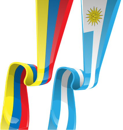 latin americans:  uruguayan & colombian ribbon flag on background