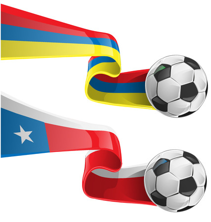 chile & colombia flag with soccer ball