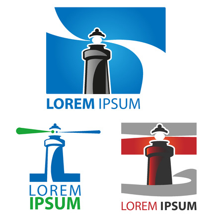 lighthouse symbol set on white background Illustration