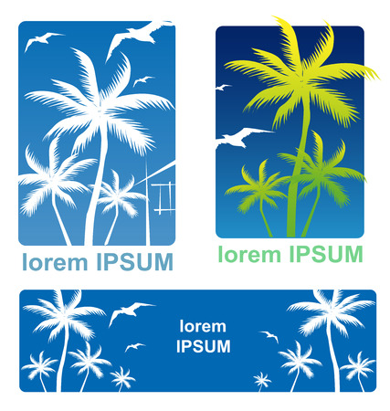 holiday background set  with Palm Tree Vector