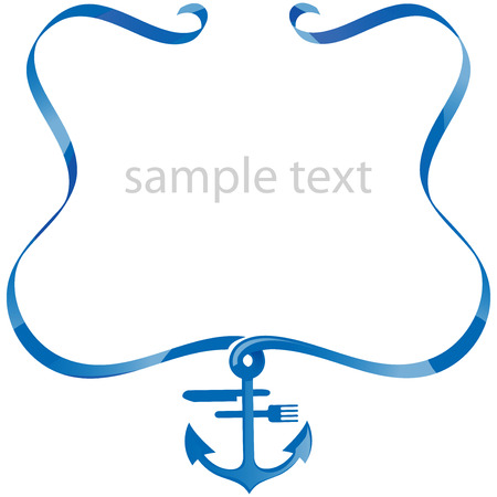 sea food background with ribbon  Illustration