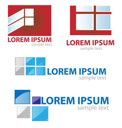 window & door symbol set on white background Vector