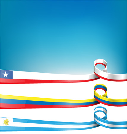 chilean flag: chilean,uruguayan and colombian ribbon flag on background