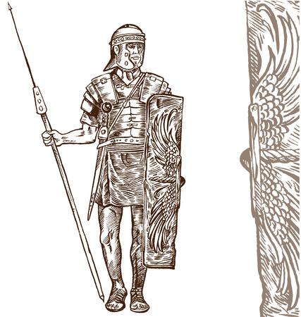 cascos romanos: guerrero romano mano de la cuerda en el fondo blanco Vectores