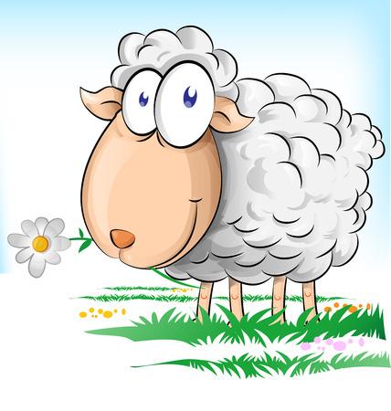 背景に羊漫画