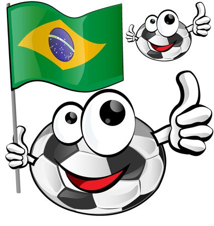 world cup: soccer ball cartoon with brazilian flag