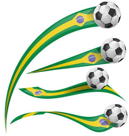 brazil flag set with soccer ball