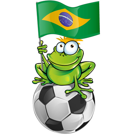 frog cartoon with soccer ball and brazilian flag     Vector