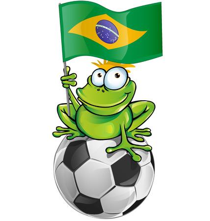 newt: frog cartoon with soccer ball and brazilian flag