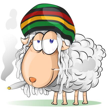 crazy jamaican sheep cartoon Illustration