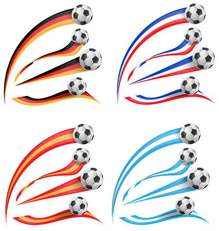 germany, greece, france, spain flag set with soccer ball Illustration