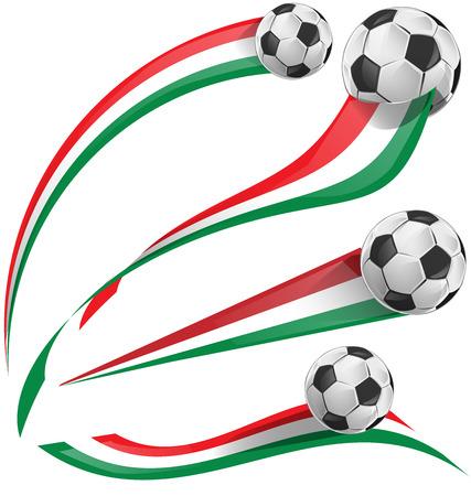 italian flag set with soccer ball Vector