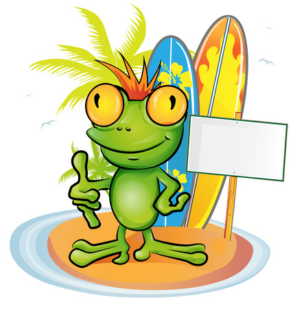 frog cartoon surfer on island background Illustration