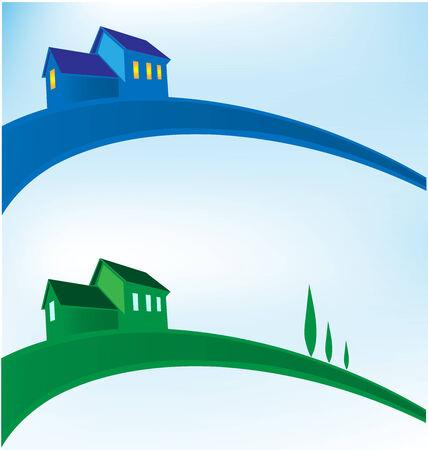 land mark: landscape house background Illustration