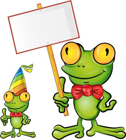 rana caricatura: rana de la historieta con el letrero Vectores
