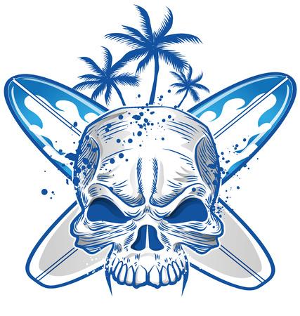 grunge skull: skull on surfboard background