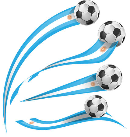 argentina flag set with soccer ball Vector