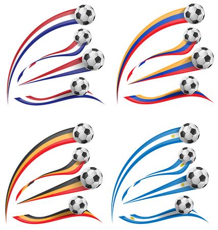flag set whit soccer ball  isolated Vector