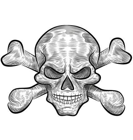 skull with crossed bones: skull sketch design isolate on white